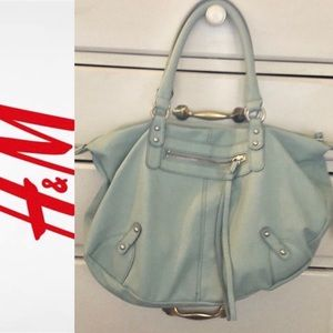 Teal faux leather satchel H&M EUC